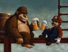 "After work...  ""Donkey Kong & Mario"" by Bob Dob"