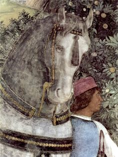 Andrea Mantegna — Detail from 'The Waiting Grooms' section of the Camera degli Sposi, 1465-74. Painting: Fresco - walnut oil on plaster. Bridal chamber ('camera degli sposi') of the Ducal Palace, Mantua, Italy. [[MORE]] Via Art of Darkness: Daily Art Blog