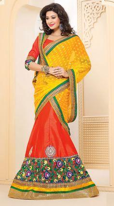 Designer Gold and Orange Silk Party Wear Lehenga Choli - IG331361USD $ 138.09