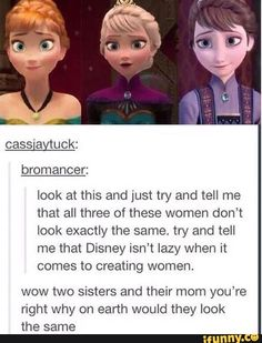 Lol I never knew people thought that Disney is lazy with their female characters. Look at arial Look at Pocahontas and tell me that. Disney Pixar, Walt Disney, Disney Jokes, Funny Disney Memes, Disney Animation, Disney Cartoons, Disney And Dreamworks, Disney Magic, Funny Memes