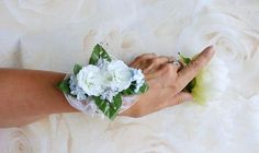White rosebud corsage, prom corsage, wedding corsage, mother of the bride corsage.  Click through to my shop