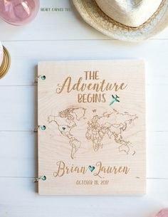 Wedding Guestbook, Modern Wedding Decor, The Adventure Begins, Wood Map, World Map, Travel Theme Wedding, Mint, Wooden, Personalized Guests