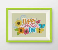 Happy mother's day Cross Stitch Pattern, PDF counted cross stitch pattern,  P101 by NataliNeedlework on Etsy