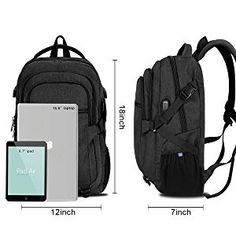 inch Laptop Backpack Men, Travel Water Resistant Backpack with USB Charging Port Multiple Pockets School Backpack, Durable Lightweight Computer Backpack for Men and Women, Black Waterproof Laptop Backpack, Computer Backpack, Backpack Reviews, North Face Backpack, School Backpacks, Usb, Pockets, Stuff To Buy, Bags