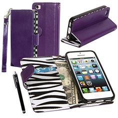 iPhone 5C Case, iPhone 5C Flip Case - E LV Deluxe Zebra Print Interior PU Leather Wallet Purse Flip Folio Stand Case Cover for iPhone 5C with 1 Stylus and 1 Clear Screen Protector (Purple) E LV http://www.amazon.com/dp/B00F93P418/ref=cm_sw_r_pi_dp_Zlw2ub1RTGNA0
