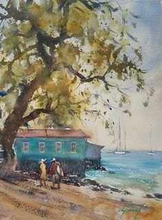 Photo: Maui Afternoon (Lahaina), watercolor en plein air by Keiko Tanabe