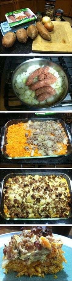 Sweet Potato, Egg and Sausage Breakfast Casserole  #OurFullPlate