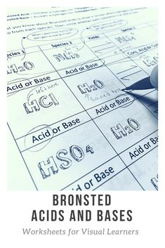 Use this acid base worksheet to show your students how hydrogen atoms move in a Bronsted acid problem. Acid base chemistry can be visual! Chemistry Worksheets, High School Chemistry, Chemistry Notes, Chemistry Lessons, Chemistry Experiments, Science Notes, Science Chemistry, High School Science, Science Education