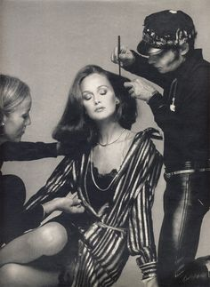 Karen Graham prepped by make-up artist Ara Gallant and fashion editor Polly Mellen for American Vogue in 1973. Photographed by Richard Avedon