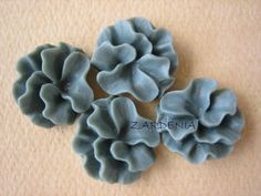 4PCS  Ruffle Coral Flower Cabochons  16mm  Resin  Gray by ZARDENIA, $3.00