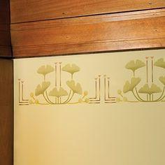 Ginkgo stencil design from by Wright's Oak Park Home & Studio.