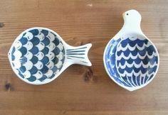 魚や鳥を象ったお皿。発想がとてもいいし、シンプルで曲線が魅力的