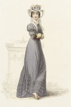 Promenade dress, fashion plate, hand-colored engraving on paper, published in Ackermann's Repository, London, October 1824.