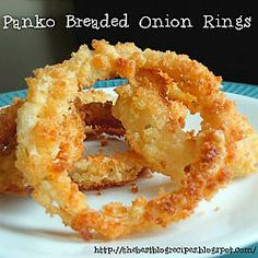 Panko Breaded Onion Rings- one of our favorites! Don't forget to use Emeirl's Panko Bread Crumbs! #emerils #cooking #onionrings #panko emerilscooking.com Best Appetizers, Appetizer Recipes, Snack Recipes, Cooking Recipes, Snacks, Vegan Recipes, Dinner Recipes, Onion Recipes, Great Recipes