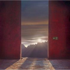 Marmont Hill Heaven's Door Surreal Artists Mixed Media Print on Canvas, Size: 18 inch x 18 inch, Multicolor