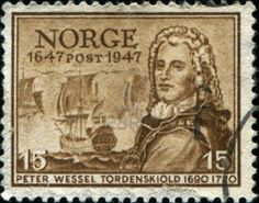NORWAY - CIRCA 1947 A stamp printed in Norway shows Peter Jansen Wessel Tordenskiold, Tordenskjold, Admiral, circa 1947