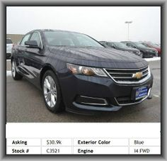 2014 Chevrolet Impala LT Sedan  Intermittent Wipers, Passenger Adjustable Lumbar, Power Steering, Traction/Stability Control, Auto-Dimming Mirror, Power Locks, Vanity Mirror/Light, Rear Window Defroster, Driver Adjustable Lumbar, Leather Steering Wheel, Power Seat (Driver), Aux Audio Adapter, Bucket Seats, Parking Assist System, Telematics System, Child Safety Locks, Compact Spare Tire, Satellite Radio, Mp3, Remote Trunk Release, Turn Signal Mirrors, Power Mirrors