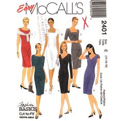 Misses' 1990s Dresses Sewing Pattern: Semi-fitted sheath dresses have front and back darts, back zipper closure, back slit and sleeve variations; dress A and B have V-neckline; dress C and D have square neckline; dress E and F have bateau neckline...