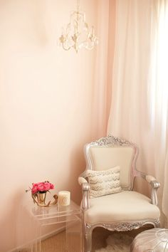 Suzie: The Glitter Guide - The Life Styled - Pale pink walls paint color, silver French chair, ...