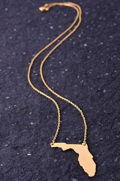 I Love Florida State Necklace - GOLDFINCH boutique, gold necklace, florida chain State Necklace, Arrow Necklace, Gold Necklace, Pendant Necklace, Cute Jewelry, Jewelry Box, Jewelry Accessories, Jewellery, Garnet And Gold