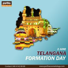 June 2, is a historic day for the state of Telangana, the youngest state in India, celebrating its sixth Telangana State Formation Day today! We salute our forefathers whose vision and effort gave us this beautiful State and promise to forge ahead in success !! #TelanganaFormationDay #TelanganaDay #ParthaCosmetology #BestSkinandHairClinic #SkinCare Skin And Hair Clinic, Effort, June, Success, India, Celebrities, Skincare, Movie Posters, Beautiful