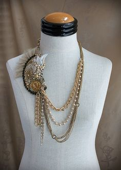 SALOME Collage Mixed Media Statement Necklace by carlafoxdesign