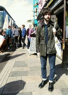 Gregory is a Music PR and is wearing his Spey Jacket which has a wonderful embroidered lining. It is a sample that he got at the Braintree outlet. Looks Style, Mr Style, Barbour Jacket Mens, Japan Fashion, Mens Fashion, Dr. Martens, Hipster Man, Look Vintage, Weekend Wear
