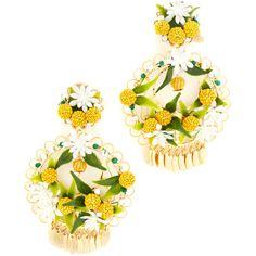 Mercedes Salazar Fiesta Lemon Clip On Earrings (15,920 INR) ❤ liked on Polyvore featuring jewelry, earrings, imitation jewelry, flower charms, charm earrings, flower jewelry and lemon earrings
