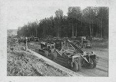 Matt Kotschaver's Crew and Equipment Working on the ALCAN Highway (aka Alaska Highway), Early 1940s (World War II Era).
