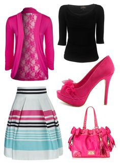 """""""Pink stripes."""" by kristina-norrad ❤ liked on Polyvore featuring Vivienne Westwood Anglomania, Jane Norman, Anna Field, Charlotte Russe and Juicy Couture"""