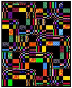 """Fibonacci quilt. The design of Neon is based on Fibonacci numbers. It was made for my grandson, and I never got a decent picture of it, so this is the Electric Quilt design. These do not represent the exact fabrics, but the effect is the same. Its label says: """"For Aaron, who lights up my life, from Grandma with love."""" It is a quilt I would love to make again."""