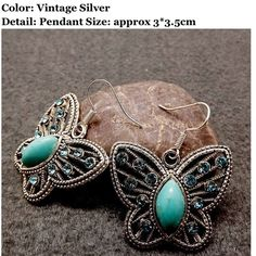 NWT Beautiful Buuterfly Turquoise Drop Earrings Brand new gorgeous butterfly turquoise drop earrings. Size is approx 3 cm x 3.5 cm. Ancient silver. One size. Feel free to ask me any questions. Great discount on bundles and thanks for stopping by!! Namaste  Jewelry Earrings