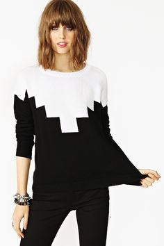 Geo color blocked knit top