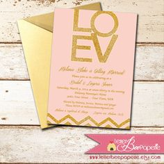 Pink Glitter Custom Bridal Shower Invitation  by LetterBeePaperie
