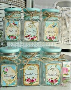 10 Aware Clever Tips: Shabby Chic Blue Bedroom shabby chic white diy.Shabby Chic Desk Old Doors shabby chic bathroom printables. Vintage Tea, Shabby Chic Vintage, Shabby Chic Farmhouse, Shabby Chic Crafts, Shabby Chic Kitchen, Vintage Style, Shabby Chic Jars, Vintage Jars, Vintage Labels