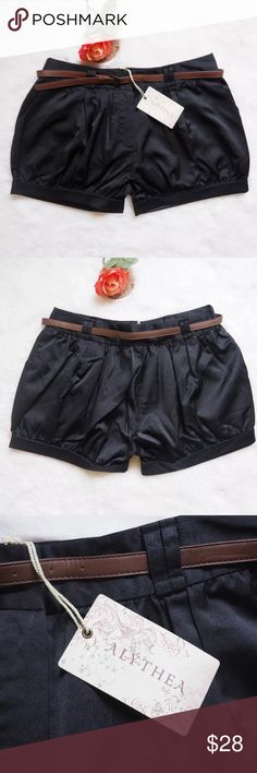 """Anthropologie Alythea Belted Satin Shorts Hello! Up for sale are these New With Tags Alythea from Anthropologie Black Satin Shorts In women's Size small . Please ask any questions and check measurements to ensure your perfect fit before purchase. Thank You! :)  These shorts have a satin texture.  73% polyester 23.5% Cotton 3.5% Spandex  Waist - 14.5 Top-Bottom - 13.5"""" Inseam - 4"""" Rise - 11""""  Have a lovely day! Alythea Shorts"""