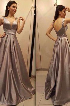 v neck evening gowns,long prom dress,silver bridesmaid dress,elegant formal dress