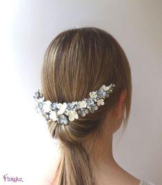 8103c6c26d Tocado de novia flores porcelana blanco y plateado