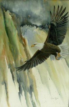 Soaring by Lynne Parker Eagle Painting, Silk Painting, Watercolor Bird, Watercolor Animals, Eagle Images, Eagle Drawing, Antler Art, Bird Artwork, Scripture Art