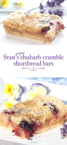 Stan's rhubarb crumble shortbread bars are a yummy twist on that British summer fave, rhubarb crumble, and are named for my grandfather, who adored rhubarb. | yumsome.com via @yums0me