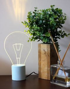 Blue concrete exposed bulb Lamp Industrial by SturlesiDesign, ₪165.00