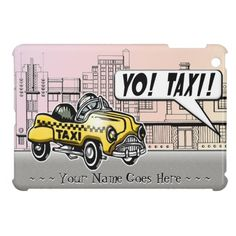 Yo! Taxi! (Personalized iPad Mini Case)  One of our favorite pedal cars was a Victor Schreckengost design painted up to mimic the bright yellow Checker Taxi Cabs that were everywhere in the 1950's. This original rendering set on a street in South Beach (Miami Florida) by digital artist, Leslie Sigal Javorek, brings back those happy childhood memories. Custom text field for your name or message. See all IconDoIt's cases @ http://www.zazzle.com/icondoit/cases+skins?rf=238155573613991097