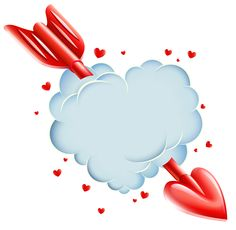 Valentine's Day Cloud Heart with Arrow Transparent PNG Clip Art Image