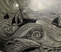 Rene Quillivic (Plouhinec 1879-Paris 1969) En pleine mer (On the Open Sea), 1921 Woodcut from La Petite Histoire Bretonne, 310 x 225 mm