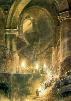 The Hobbit- Concept art of the halls of Thranduil the Elvenking of Mirkwood by Alan Lee and John Howe. Beautiful.