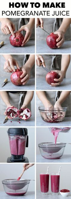 How to Make Pomegranate Juice - an easy, step-by-step tutorial + video on how to make pomegranate juice.