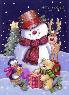 Image Library Designs Original illustrations occasions Christmas greetings cards Source by Christmas Scenes, Christmas Pictures, Christmas Snowman, Winter Christmas, Christmas Holidays, Christmas Crafts, Christmas Decorations, Christmas Ornaments, Xmas