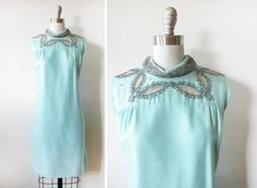blue silk mod dress / vintage 1960s sky blue by RustBeltThreads, $89.00