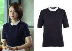 """Park Ha-Sun 박하선 in """"Temptation"""" Episode 6. Comptoir Des Cotonniers Knit Jumper with Detachable Shirt Collar #Kdrama #Temptation 유혹 #ParkHaSun"""