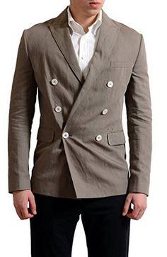 Dsquared2 Men's Linen Beige Double Breasted Blazer Sport Coat US 38 IT 48.